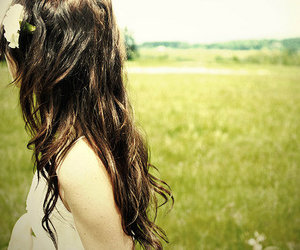 brunette, green, and field image