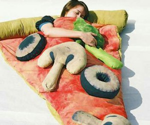pizza, bed, and sleep image