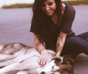 dog, girl, and light image