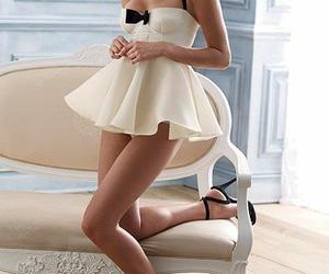 bow, glamour, and white dress image