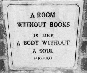 black and white, book, and room image