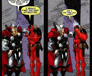 deadpool, funny, and thor image