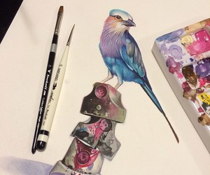 art, bird, and colorful image
