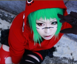 vocaloid, cosplay, and green hair image