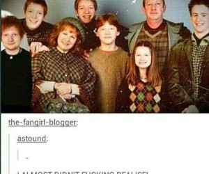 harry potter, weasly, and ed sheeran image