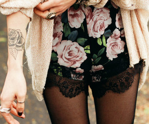 fashion, tattoo, and rose image