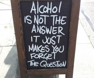 alcohol, quotes, and question image