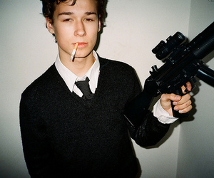 boy, cigarette, and gun image