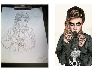 drawing, victoriasecret, and caradelevingne image