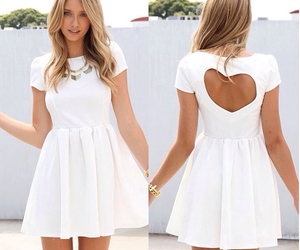 dress, white, and heart image