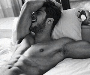 bed, handsome, and muscles image