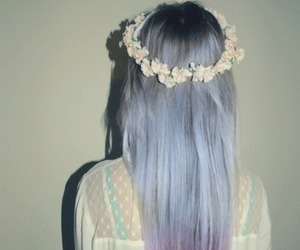 dyed hair, flowers, and grunge image