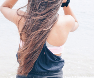 beach, brunette, and cool image