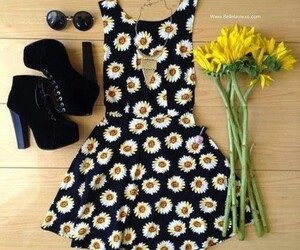 dress, flowers, and shoes image