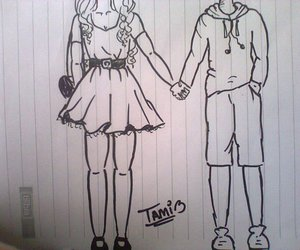 boy, couple, and draw image