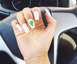 nails, white, and alien image