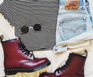fashion, striped shirt, and girl image