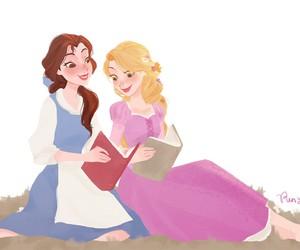 rapunzel, belle, and disney image