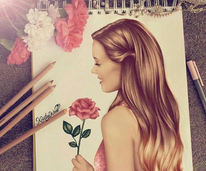 draw, pink flower, and tie and die image