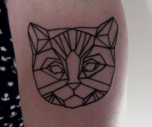 cat, tattoo, and geometric image