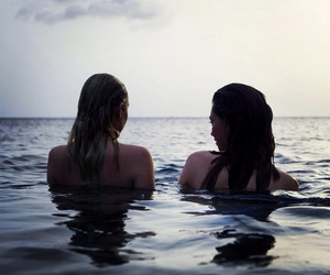 girl, friends, and sea image