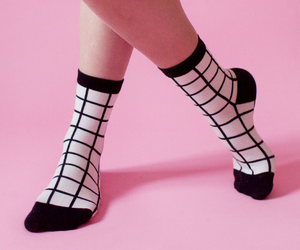 pink, socks, and black image