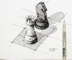 art, chess, and scetch image