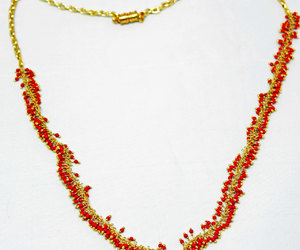 wire wrap necklace, necklace for her, and red bead necklace image