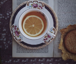 book, tea, and vintage image