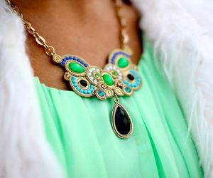 fashion, necklace, and green image