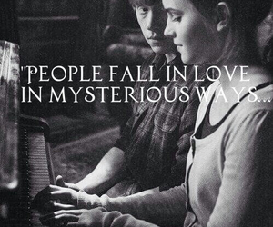 harry potter, hermione, and piano image