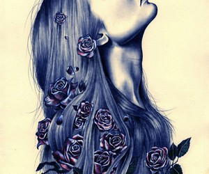 beautiful, blue, and drawing image