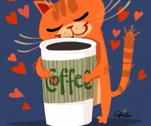 coffee, cat, and heart image