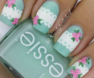 nails, rose, and essie image