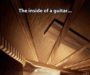 guitar, inside, and wood image