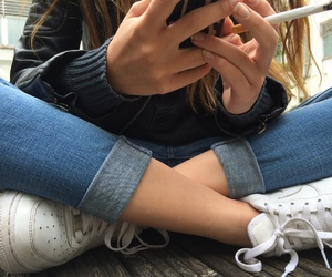 girl, jeans, and pale image