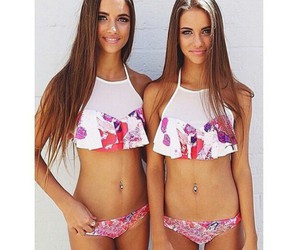 girl, summer, and twins image