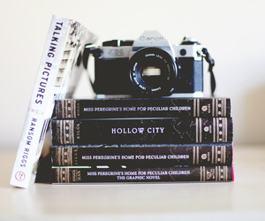 books, cam, and photo image