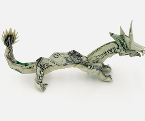 art, dollar, and dragon image
