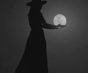 moon, witch, and black image