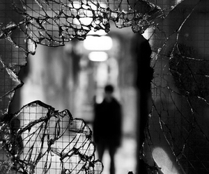 broken and black and white image