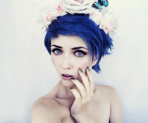 blue hair, girl, and blue image