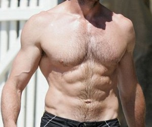 hugh jackman, shirtless, and six pack image