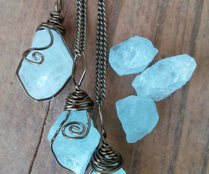 blue, crystal, and necklace image