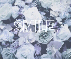 smile, flowers, and blue image