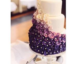 cake, flowers, and purple image