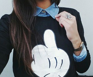 girl, black, and mickey image