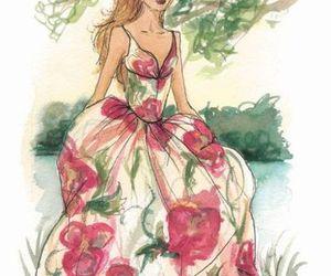 dress, girl, and art image