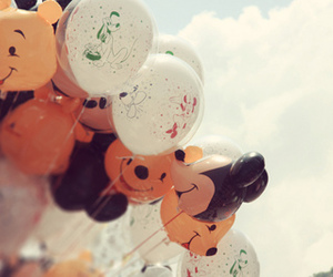 balloons, cute, and mickey mouse image