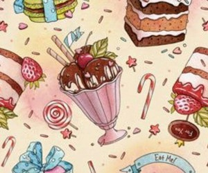 background, cake, and ice cream image